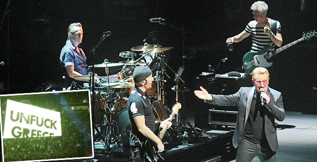 U2 play the hits during 'Innocence & Experience' World Tour Debut. The band was in fine form playing all the hits over their long career. Pictured: Bono, The Edge, Adam Clayton, Larry Mullen Jr Ref: SPL1027236 150515 Picture by: R Chiang / Splash News Splash News and Pictures Los Angeles:310-821-2666 New York: 212-619-2666 London: 870-934-2666 photodesk@splashnews.com