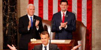 Δώδεκα φορές Αμερικανοί γερουσιαστές και εκπρόσωποι του Κογκρέσου σηκώθηκαν και χειροκρότησαν τον Εμμανουέλ Μακρόν στην διάρκεια των 45λεπτης ομιλίας του στο Καπιτώλιο. Επρόκειτο για μία ομιλία με την οποία καλούσε τις δυο χώρες να αγωνιστούν κατά του πολιτικού αυταρχισμού.new deal Αθανάσιος Παπανδρόπουλος